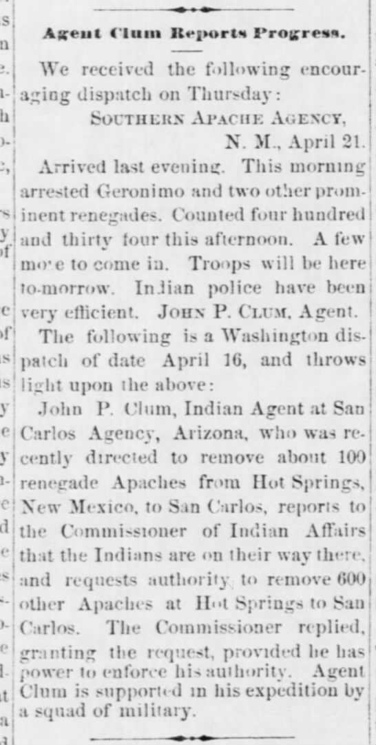 """1877 capture of Geronimo and removal of """"renegade"""" Apache to the San Carlos Reservation in Arizona -"""