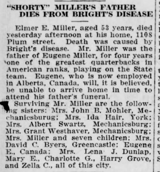 """- """"SHORTY"""" MILLER'S FATHER DIES FROM BHIGIIT'S..."""