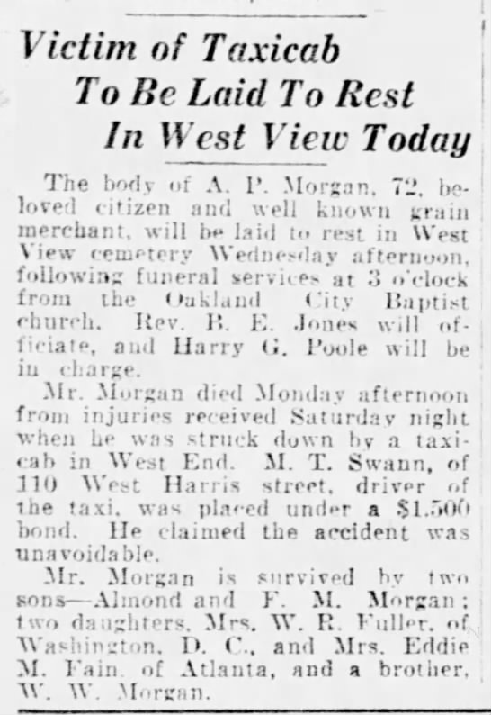 A.P. Morgan dies of injuries after being hit by taxicab, Atlanta, Ga.;  Mar 1925 -