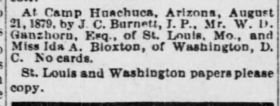 AZ WC (Tucson) 8-29-1879 - MARRIED - WD Ganzhorn of MO & Ida BLOXTON of DC - 8-21-1879 -