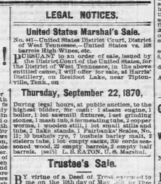 - ! LEGAL NOTICES. United States Marshal's Sale....