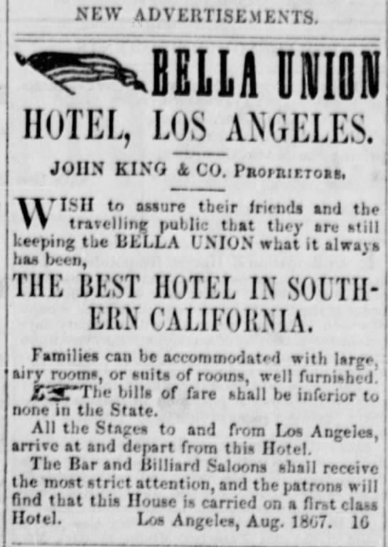 Arizona Miner August 10 1867 Bella Union Hotel advertised. -