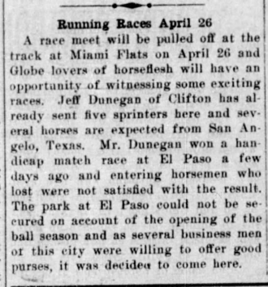 Miami Flat Races silver belt 11Apr1907 -
