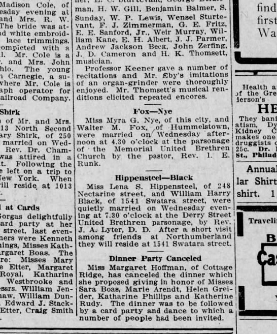 1911 January 6 Harrisburg Telegraph - Madison Cole, of evening at and Mrs. R. W. The...