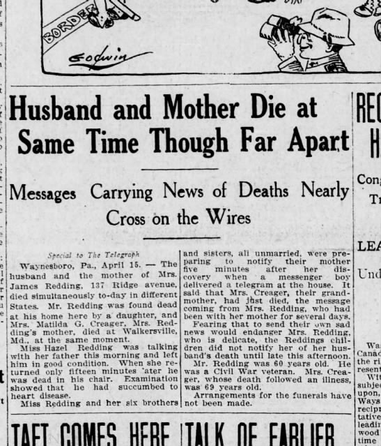 1911 April 15 Harrisburg Telegraph - Husband and Mother Die at Same Time Though Far...