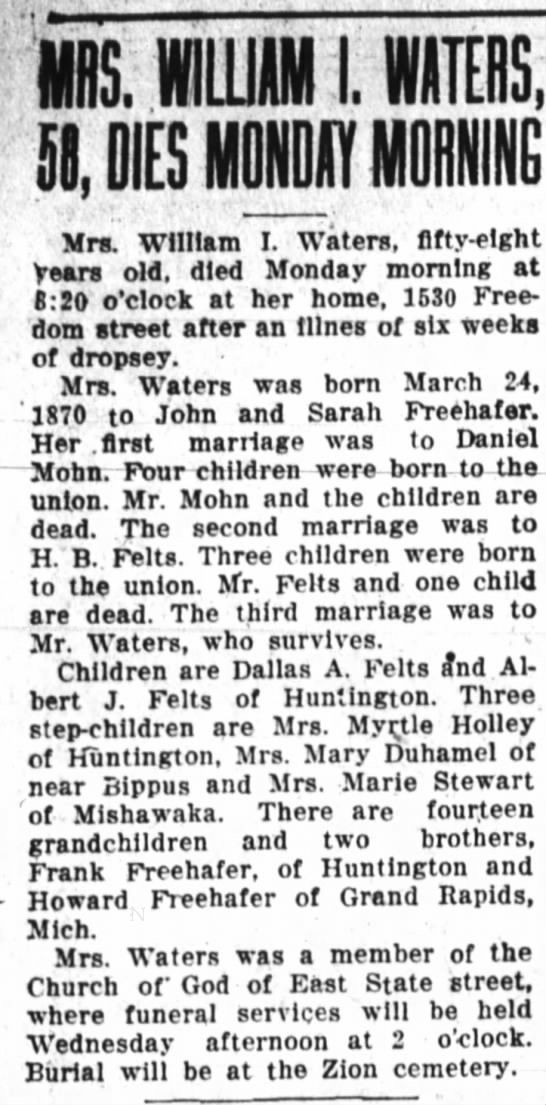 Ida Freehafer Waters-death; the Huntington Herald, Dec. 17, 1928 page 8 -