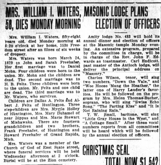 Ida Freehafer-death; The Huntington Herald, Dec. 17, 1928 page 8 -