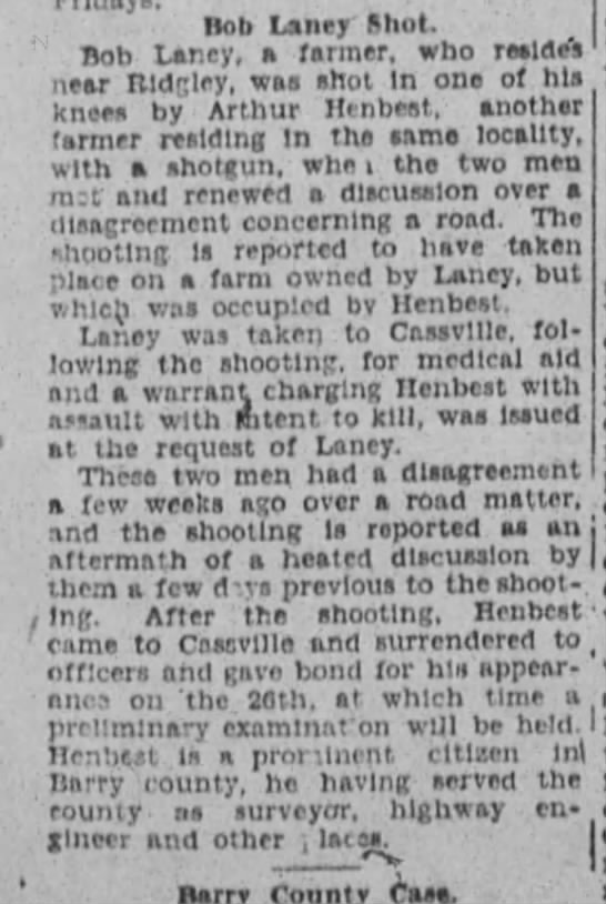 Bob Laney Shot - Bob Laney ghot. nh Tanev. a fanner, who reside...