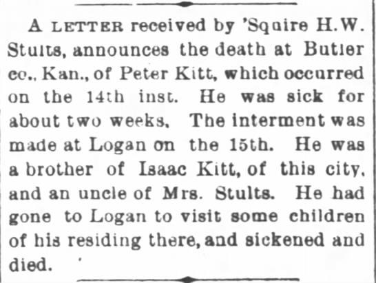 Peter Kitt-death; The Indiana Herald, Jan. 26, 1887 page 7 -