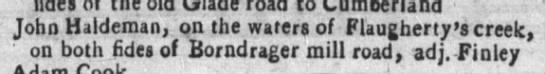 30 May 1787 John Haldeman Flaugherty's creek Borndrager Mil road Elk lick Township -