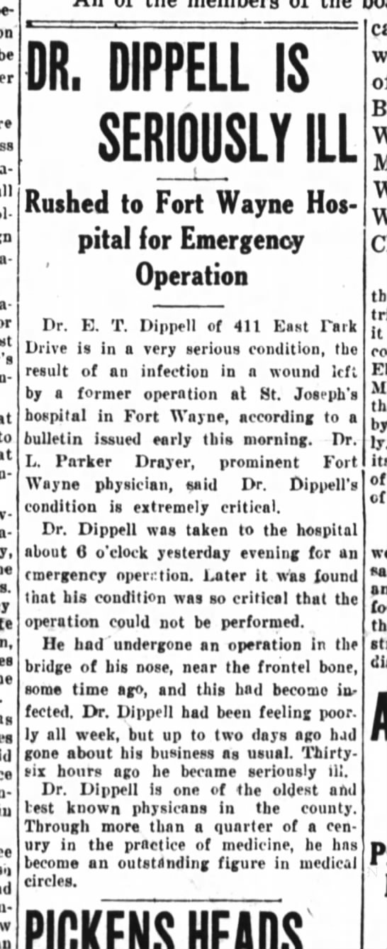 Dr. E. T. Dippell is seriously ill. - on be to as u - DR. DIPPELL IS SERIOUSLY ILL t...