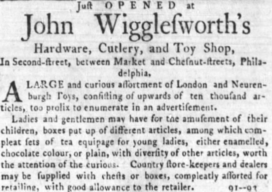 Toy Shops - The Independent Gazetteer (Philadelphia, PA), July 26, 1783 -