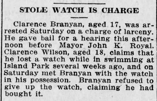 Branyan. Clarence news clipping/attached to tree -