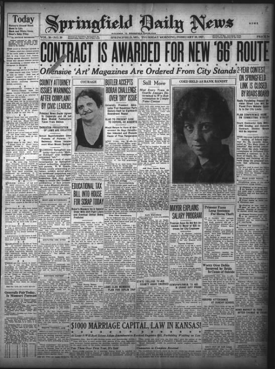 Rt 66 Headline and article Spfld Daily News Feb 10, 1927 -