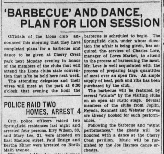 May 1, 1929 Cherry Crest Park picnic for Lions Club Spfld -Leader -