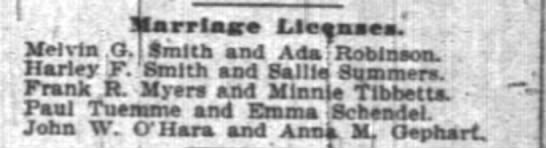 Emma Schendel & Paul Teumme marriage license