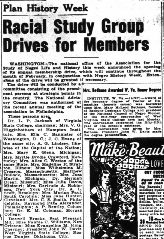 "Baha'i - curious Evangeline King, Cheyney, also in national group membership drive - Plan History Week 1 i tody iifolp "" W..."