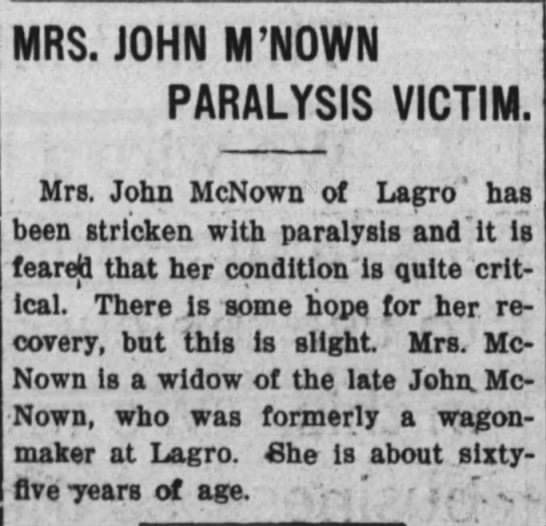 Mrs John McNown Paralysis (Huntington Herald Mar 1909)  Huntington IN -