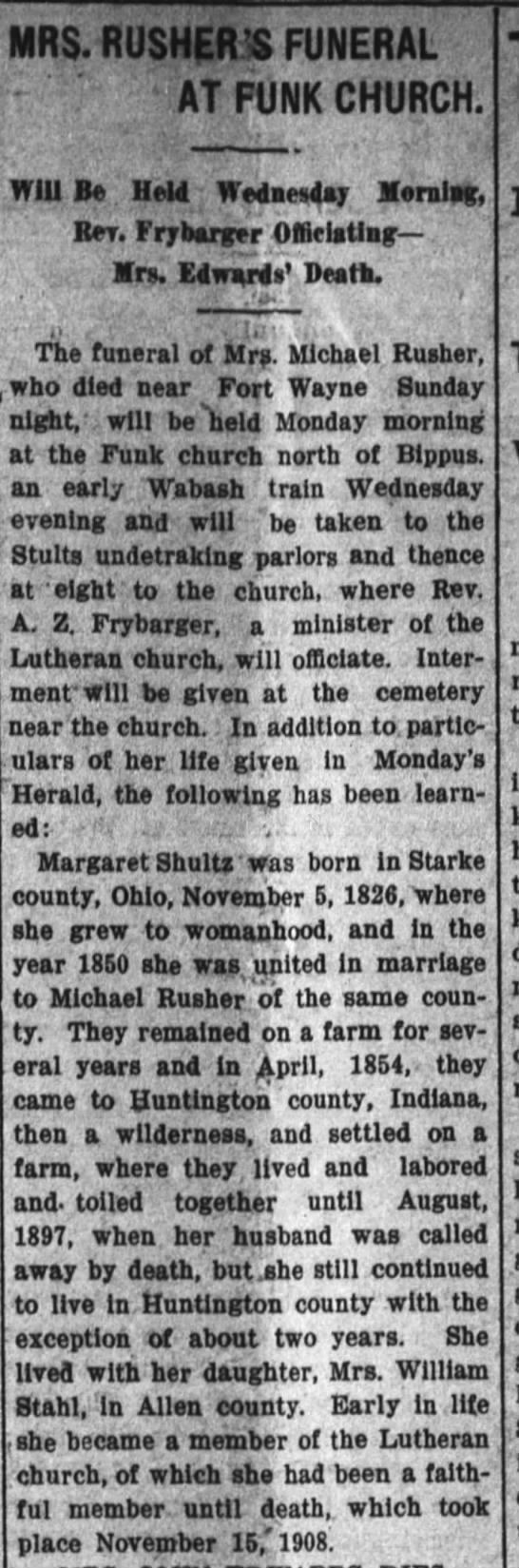 Margaret Shultz Rusher-death; The Huntington Herald, Nov. 17, 1908 page 2 -