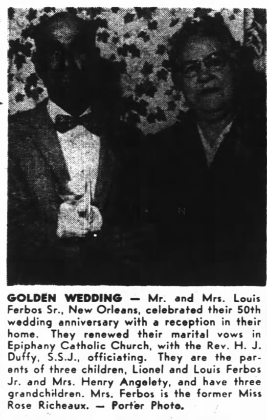 Ferbos, Mr. and Mrs Louis, parents of Mrs. Henry Angelety golden wedding with picture -