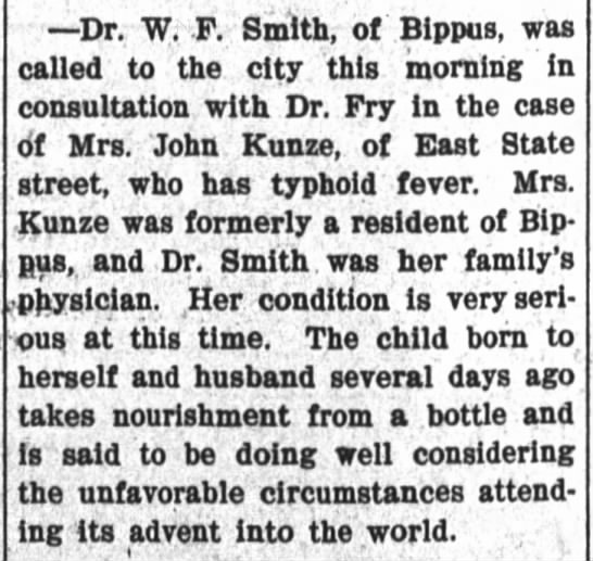 - Dr. W. F. Smith, of Bippus, was called to the...