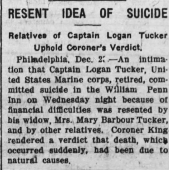 Resent Idea of Suicide. The Huntington Herald (Huntington, Indiana) December 26, 1911, p 3 -