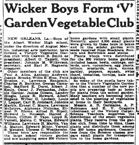High school victory garden, 1944 -