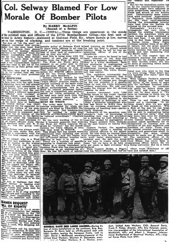 Article discussing Colonel Selway and discrimination toward African American pilots -
