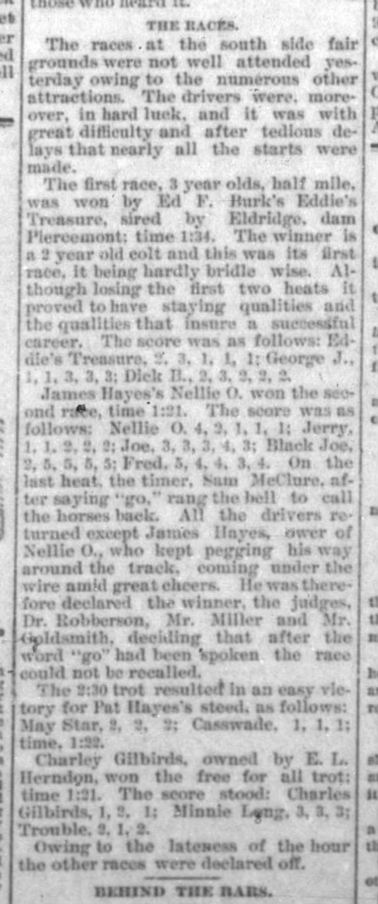 James Hayes/Pat Hayes in Springfield Democrat 6 July 1893 pg 3 -