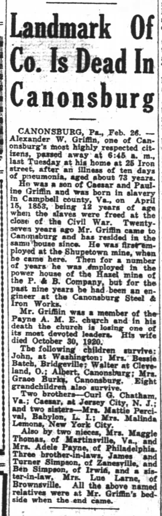 Griffin Alexander W Obituary 28 Feb 1925 The Pittsburgh Courier -