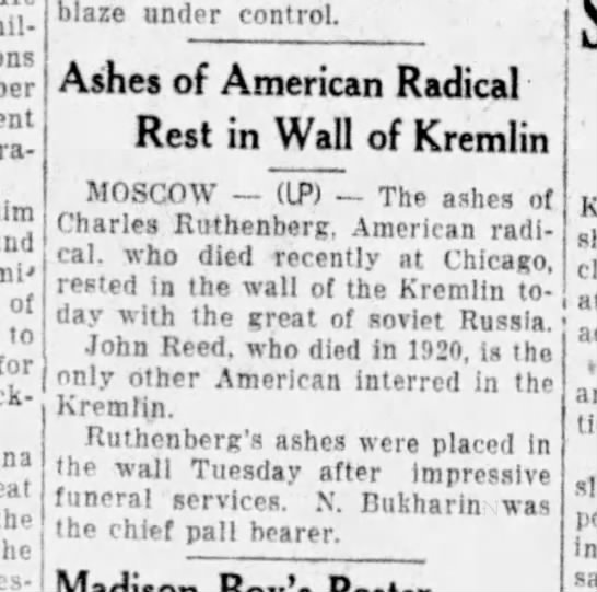 Ruthenberg Ashes placed to rest at Kremlin wall -