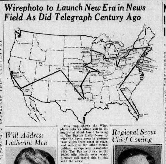 Original Wirephoto network map, 1934 -