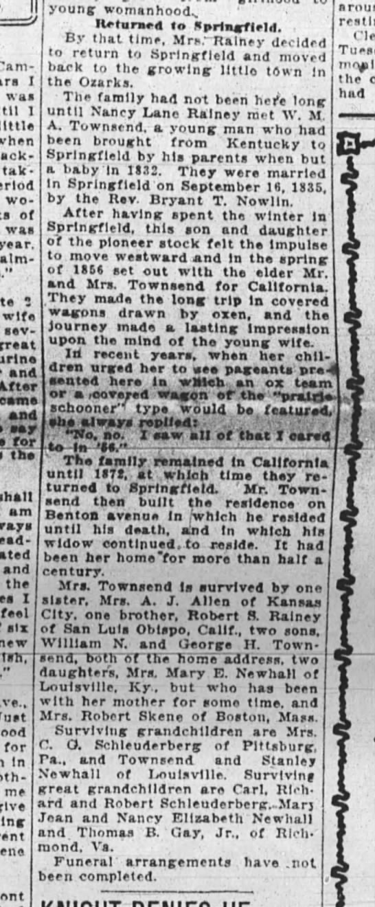 Nancy L. R. Townsend Obituary March 6, 1924