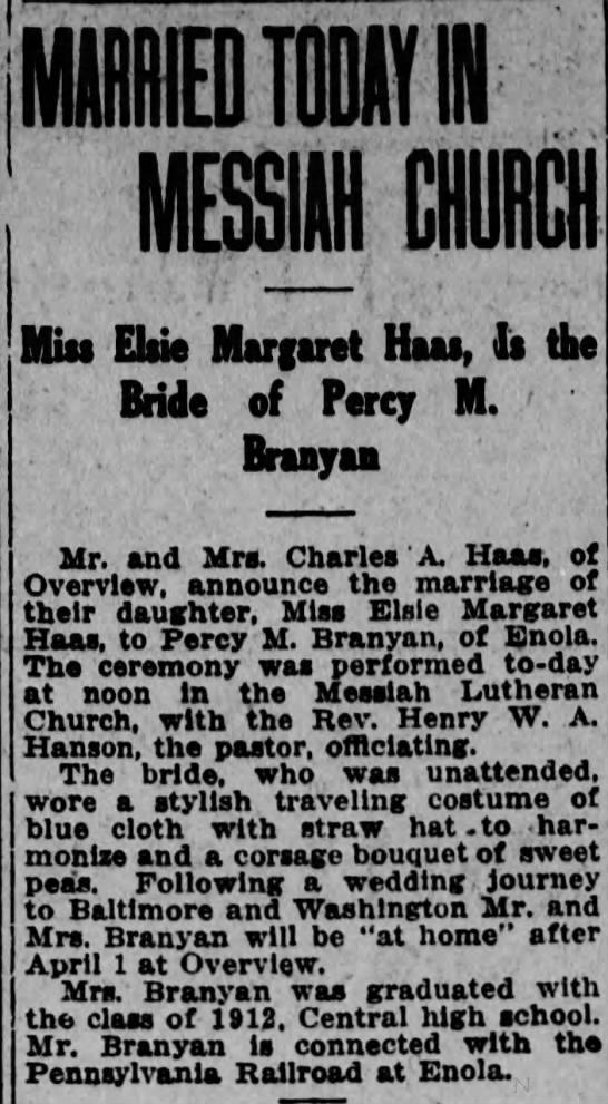 Branyan. Percy Elsie wedding/attached to tree -