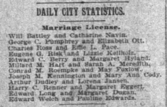 George C. Pumphrey & Eliz. Ott marriage license newspaper -