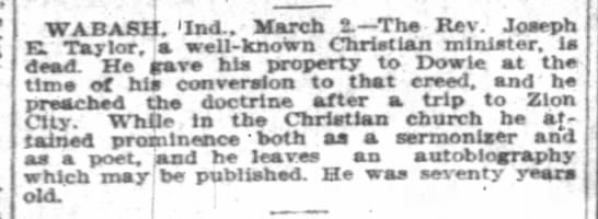 The Indianapolis News (Indianopolis, Indiana); 2 March 1904, Page 4, Column 4 -