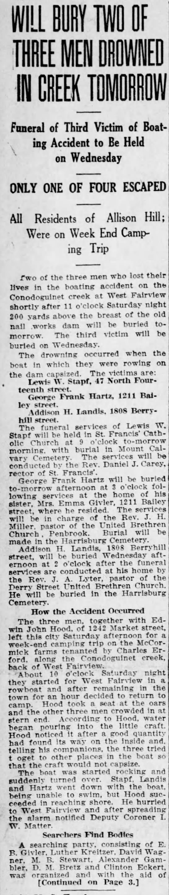 Lewis Stapf drowns in boating accident - Harrisburg Telegraph - Aug 4 1913 -