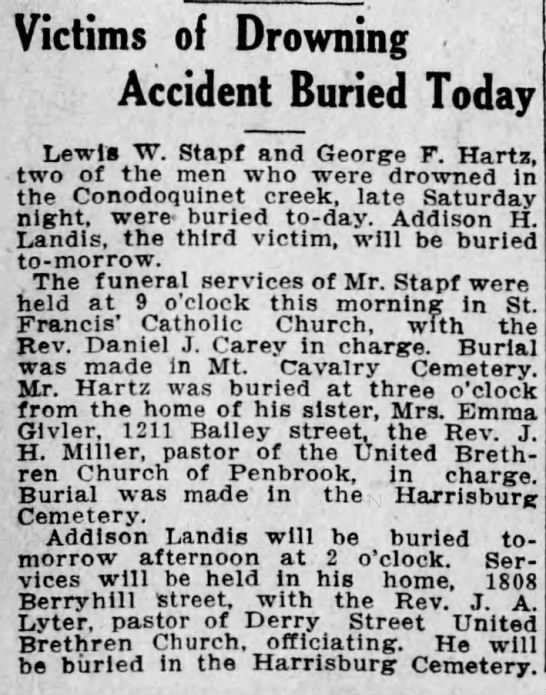 Lewis W. Stapf Harrisburg Telegraph Aug 5 1913 -