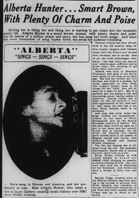 Alberta Hunter, bachelor girl 1938 -