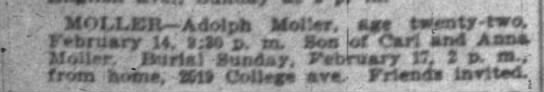 Indianapolis Star 16 Feb 1901 page 13 col 1 Adolph Moller obit -