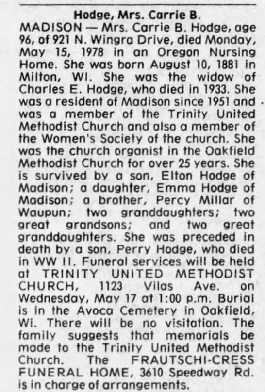 Obituary for Carrie B. Hodge, 1881-1978 (Aged 96) -