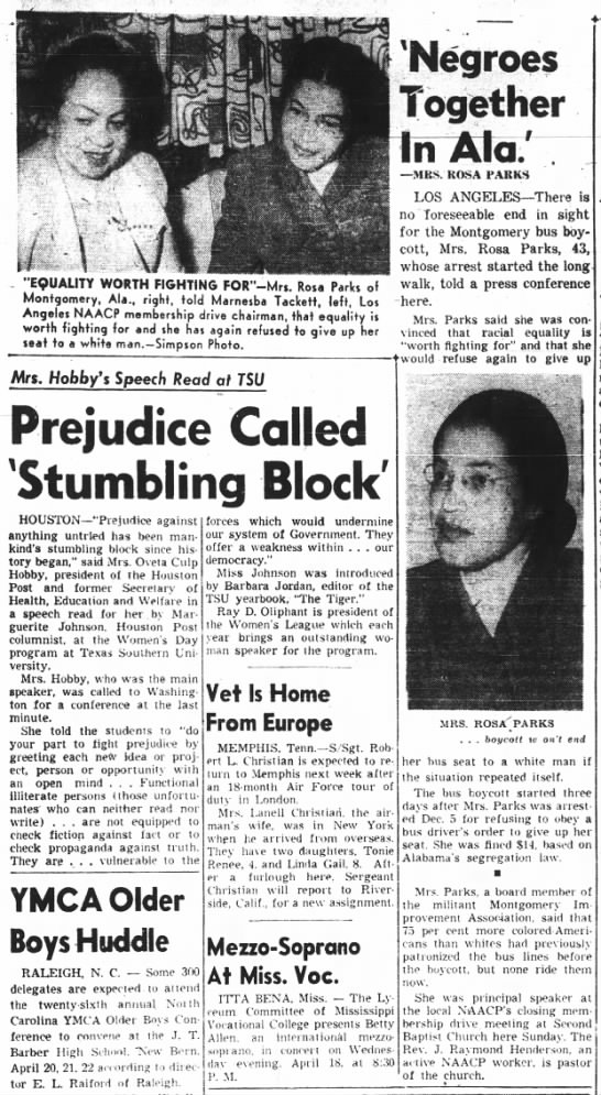Article about Rosa Parks published April 1956, during the Montgomery Bus Boycott -