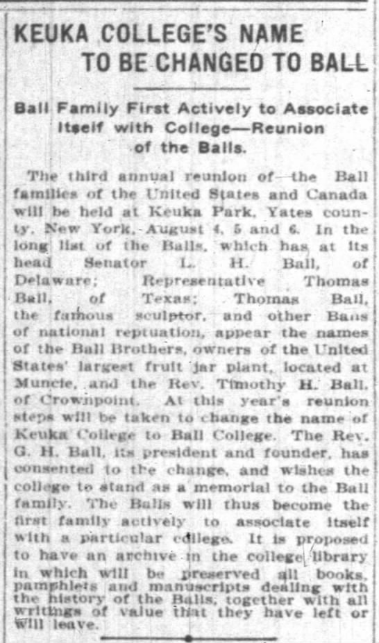"Keuka to be Called ""Ball College"" 1903 -"