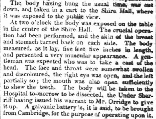 William Corder's body put on public display -