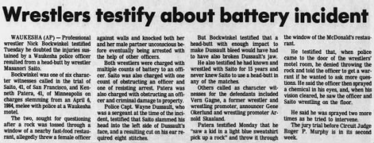 Wrestlers testify about battery incident (AP via Wisconsin State Journal 6/5/1985) -