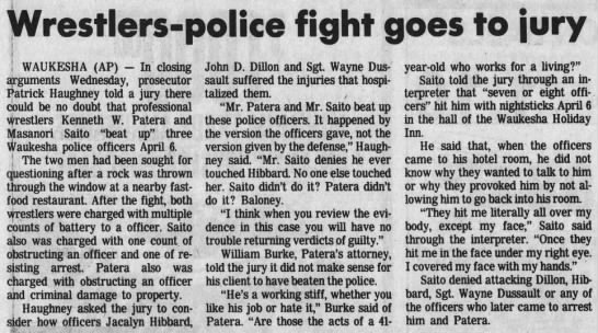 Wrestlers-police fight goes to jury (AP via Wisconsin State Journal 6/6/1985) -