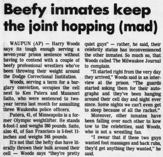 Beefy inmates keep the joint hopping [mad] (AP via WI State Journal 7/14/1985) -