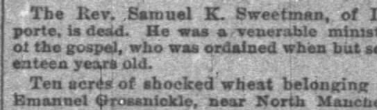 Indianapolis News 15 Jul 1893, Sat Obit for Rev Sweetman -