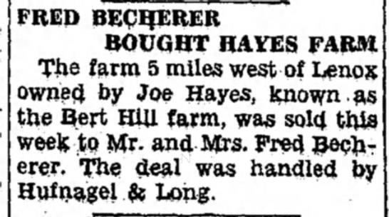 Fred Becherer bought Hayes farm - Newspapers com