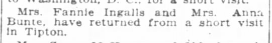 Indpls News, 5 March 1906, p 7. Personal and Social. Mrs. Fannie Ingalls -